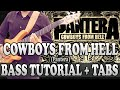 Cowboys From Hell - Bass TUTORIAL (with tabs) - Pantera