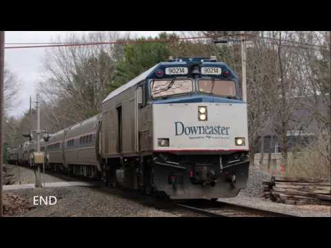 Vermonter at Bellows Falls Downeaster Trains Amtrak P42DC and NPCU Kennebunk USA Diesel Fast Train