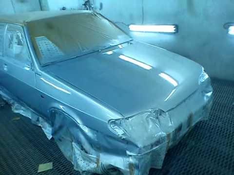 покраска автомобиля ваз 2114 кристалл ( желтый металлик)