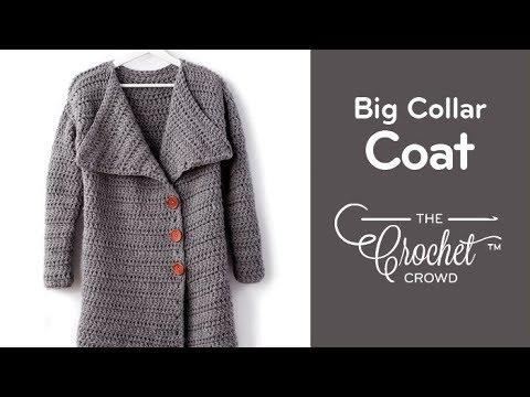 Crochet Big Collar Long Coat