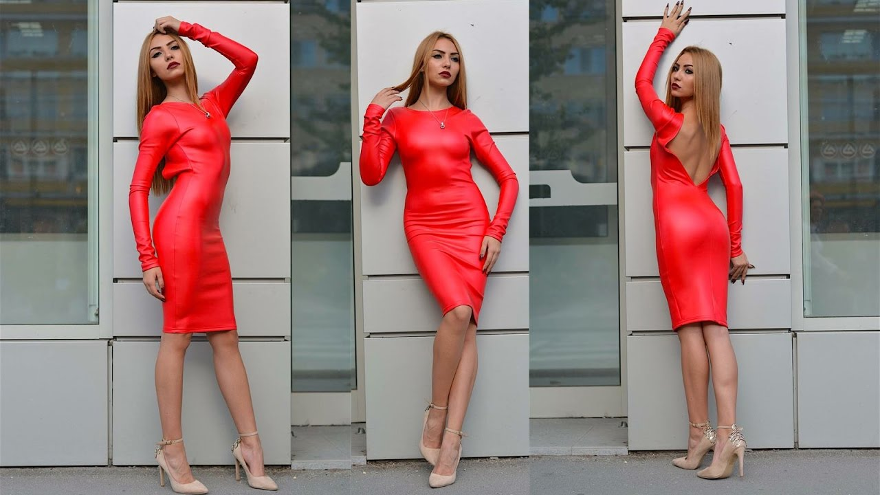 Red Leather Dress - YouTube