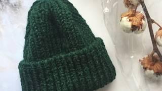 FeyaKnits МК Вязаная спицами шапка тыковка с отворотом