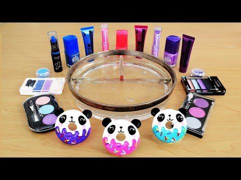 Mixing Makeup Eyeshadow Into Slime! Pink vs Blue vs Purple Special Series Satisfying Slime Video