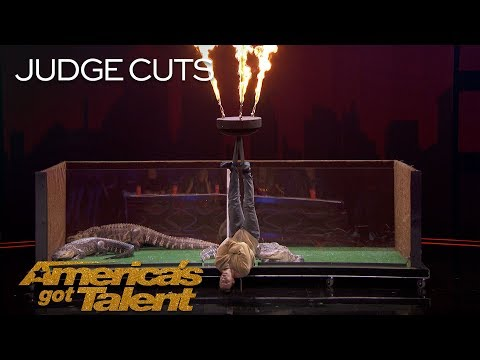 Lord Nil Nearly Eaten Alive By Alligators In Dangerous Stunt - Americas Got Talent 2018