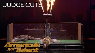 Lord Nil Nearly Eaten Alive By Alligators In Dangerous Stunt - America's Got Talent 2018 thumbnail
