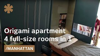 Tiny Origami apartment in Manhattan unfolds into 4 rooms