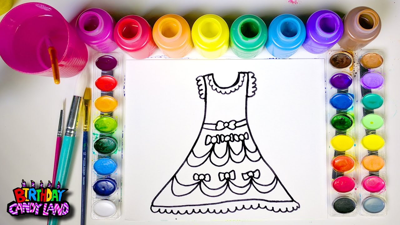 learn colors and hand color watercolor beautiful dress coloring pages for kids youtube