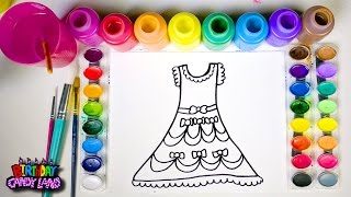 Learn Colors and Hand Color Watercolor Pretty Dress Coloring Pages for Kids