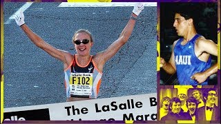 Running with Paula Radcliffe at the 2002 Chicago Marathon.