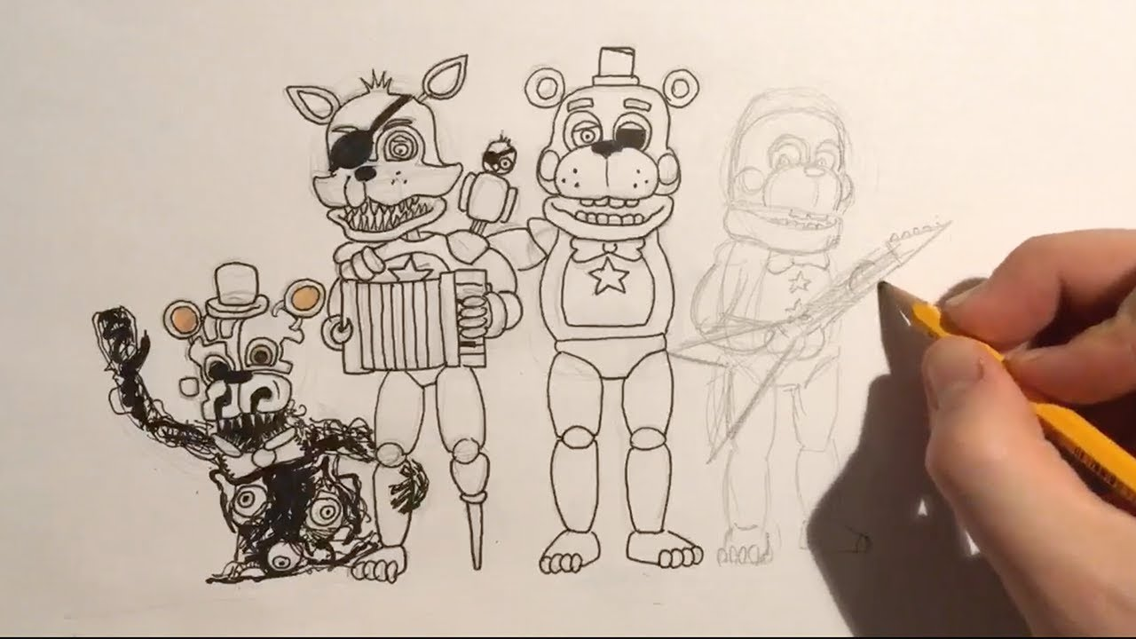 How To Draw Fnaf 6 All Animatronics Part 1 Live Youtube