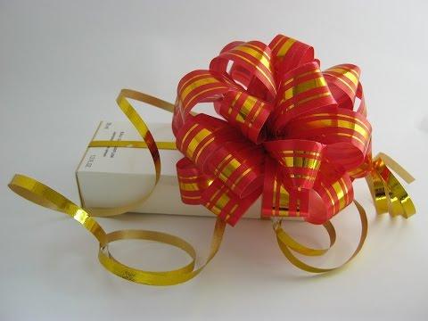 Как сделать бантик из ленты своими руками на подарок