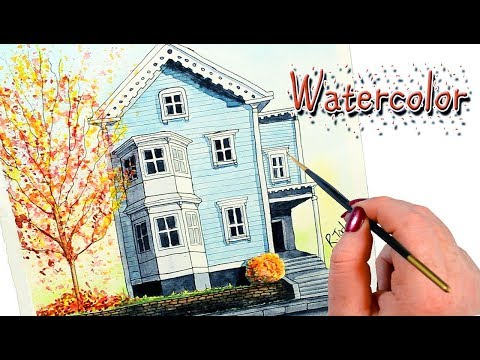 Watercolor Painting of Cute Bay Window House and Autumn Fall Tree
