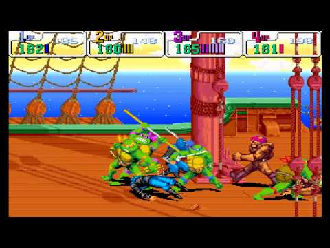 Teenage Mutant Ninja Turtles: Turtles in Time HD (Arcade/1991) 4 Turtles FULL Walkthrough