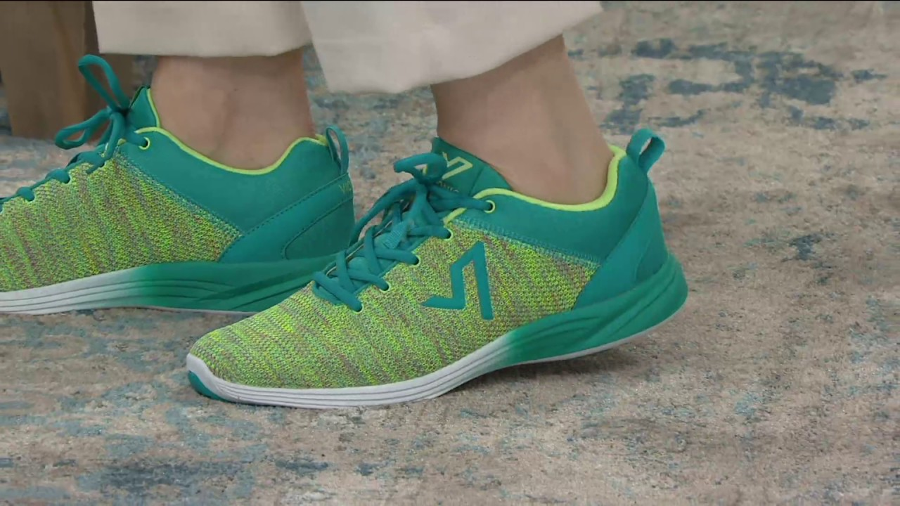 2fa0b17dae394 Vionic Orthotic Lace-up Flat Knit Sneakers - Adley on QVC - YouTube
