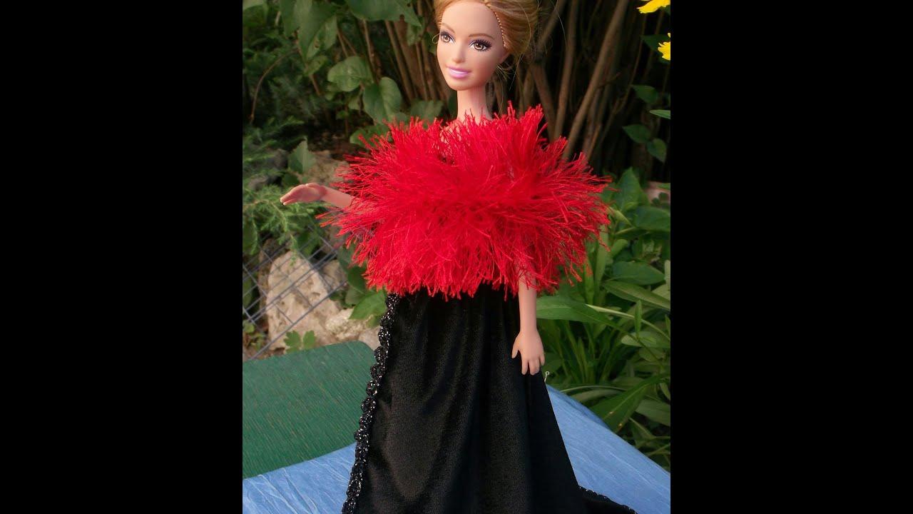 Платье для барби со шлейфом