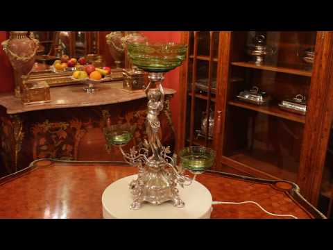 Antique WMF Art Nouveau Centrepiece Jade Green Glass Circa 1890