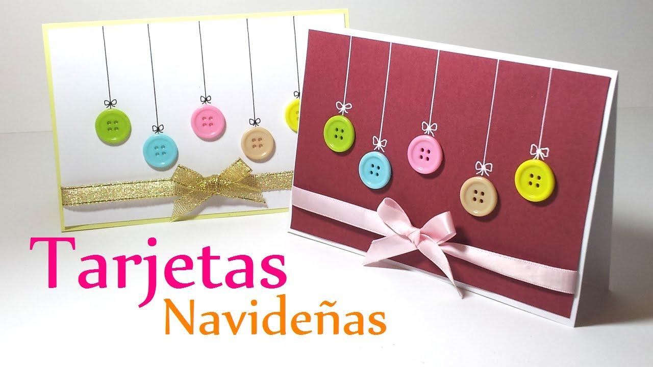 Manualidades para navidad tarjetas de navidad con botones - Tarjeta de navidad manualidades ...