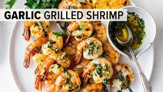 BEST GRILLED SHRIMP RECIPE  garlic grilled shrimp skewers - easy!