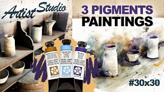 Ceramic inspired WATERCOLOR + Artist STUDIO Visit & Old French Cafe