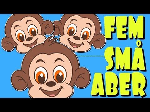 Fem små aber med mere | Danske Børnesange | 18 minutter mix med tekst