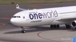 【 Oneworld】 Finnair Airbus A340-313 OH-LQE Landing at Nagoya