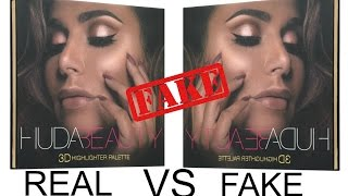 REAL VS FAKE HUDABEAUTY 3D HIGHLIGHTER REVIEW&SWATCHES