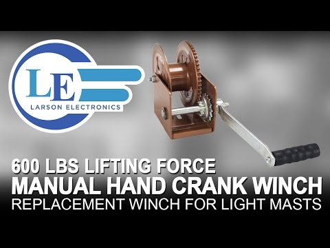 Manual Hand Crank Winch - 600 Lbs Lifting Force - Replacement Winch for Light Masts