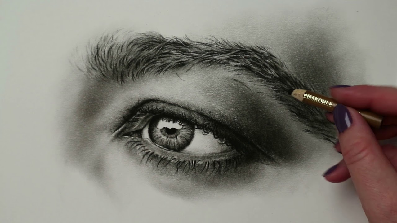 Timelapse Charcoal Eye Tutorial Drawing by Zindy Ink - YouTube