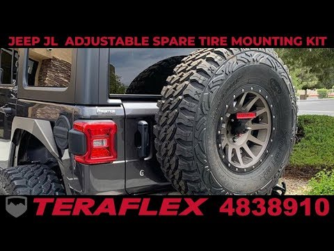 How To Install TeraFlex 4838910 Adjustable Spare Tire Mounting Kit 2018-2019 Jeep JL