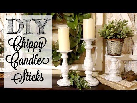 DIY Chippy Candle Sticks | Paint Layering Technique