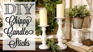 DIY Chippy Candle Sticks | Paint Layering Technique