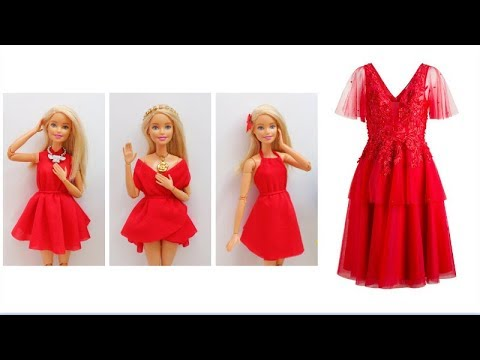 👗 DIY 4 in 1 Barbie Dress Making Easy No Sew Clothes for Barbies Creative for Kids