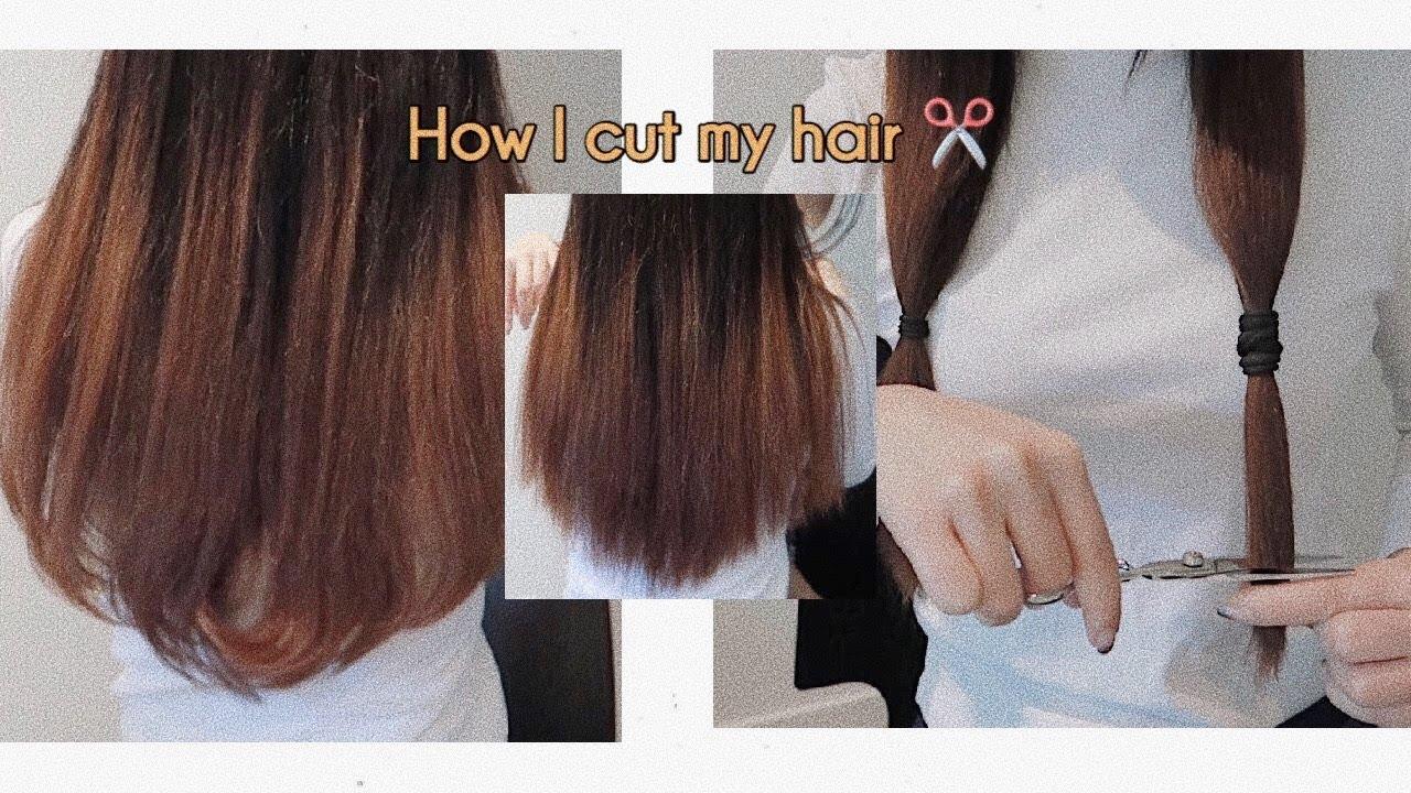 How to cut my hair at home 💁🏻♀️ วิธีตัดผม/เล็มปลายผมทำเองได้ง่ายๆที่บ้าน