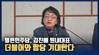 """김진애 원내대표, 더불어-민주 합당 관련에 """"기대는 하…"""