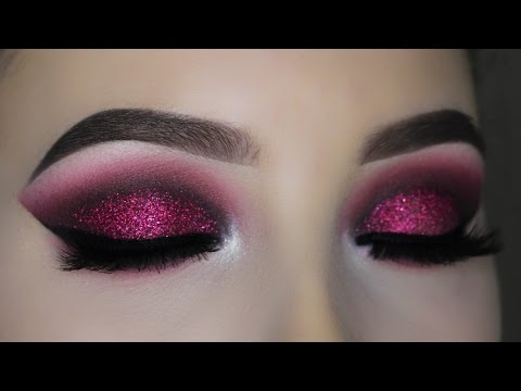 Smokey Red Burgundy Glitter Eye Makeup Tutorial