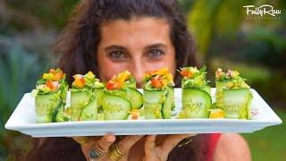 Cucumber Guacamole Bell Pepper Rainbow Rolls! FullyRaw & Vegan!