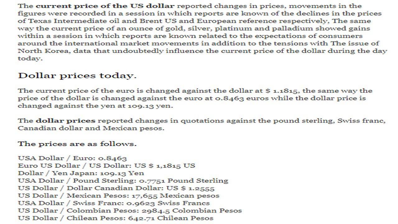 Cur Exchange Price Rates Dollar Euro Yen Today Monday August 21 2017 08 17