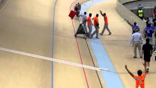 Rough and dangerous accident during Track cycling race - broken bicycle