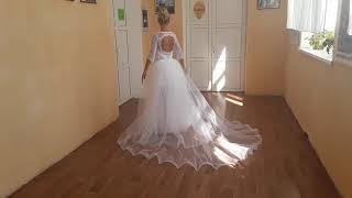 Короткое Свадебное платье со съемным шлейфом. Eli-stor.com