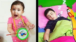 Super Celina pretend play music and wake up Hasouna - سيلينا تزعج حسونة