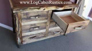 """wild Edge"" Reclaimed Wood And Aspen Log Dresser & Rustic Furniture"