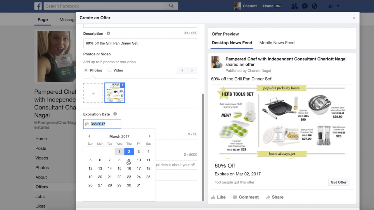 how to create an offer on facebook business page