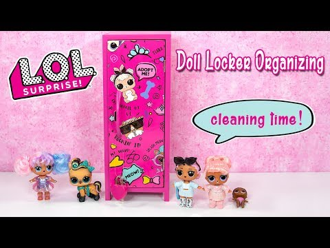 LOL Surprise Doll Locker Organizing ~ Spring Cleaning with LOL Dolls Jet Set QT and Snow Bunny