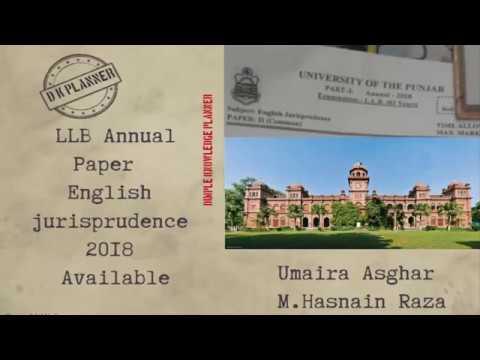 Lecture #1 English jurisprudence annual paper 2018 university of punjab  part 1