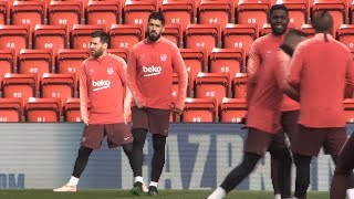 Barcelona Train At Anfield Ahead Of Liverpool Champions League Semi Final Second Leg