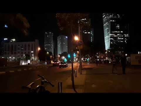 090. Ночной Тель-Авив, Сарона, Израиль