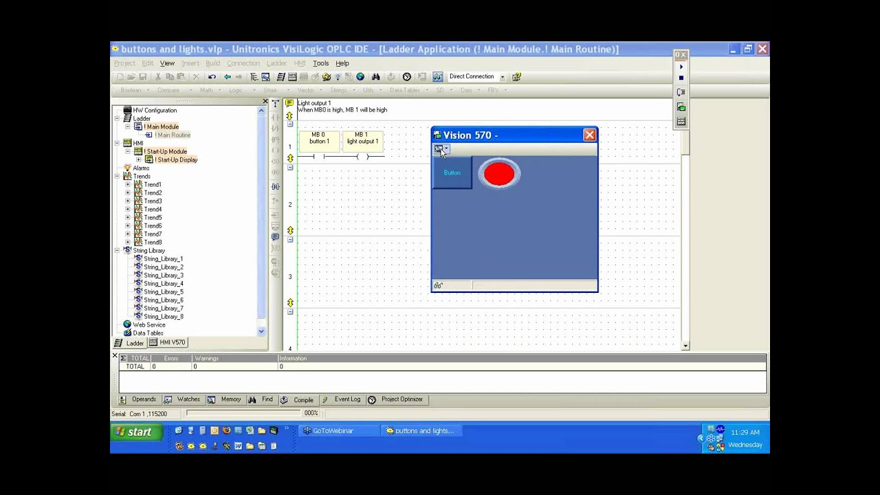 VisiLogic for Vision and Samba PLC+HMI - Lights and Buttons (part 2)
