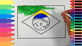 How to Draw Brazil Flag - Drawing the Brazilian Flag - Art Colors for Kids | Tanimated Toys