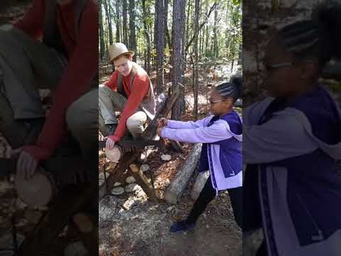 Sewing wood at Camp Cosby