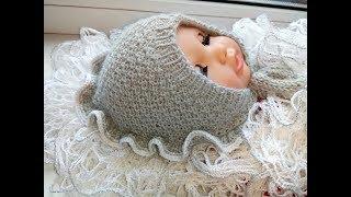 Бесшовная шапочка для новорожденного СНЕЖАНА (анатомический чепчик) 1 часть